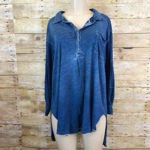 We The Free Faux Denim Popover Blouse Small